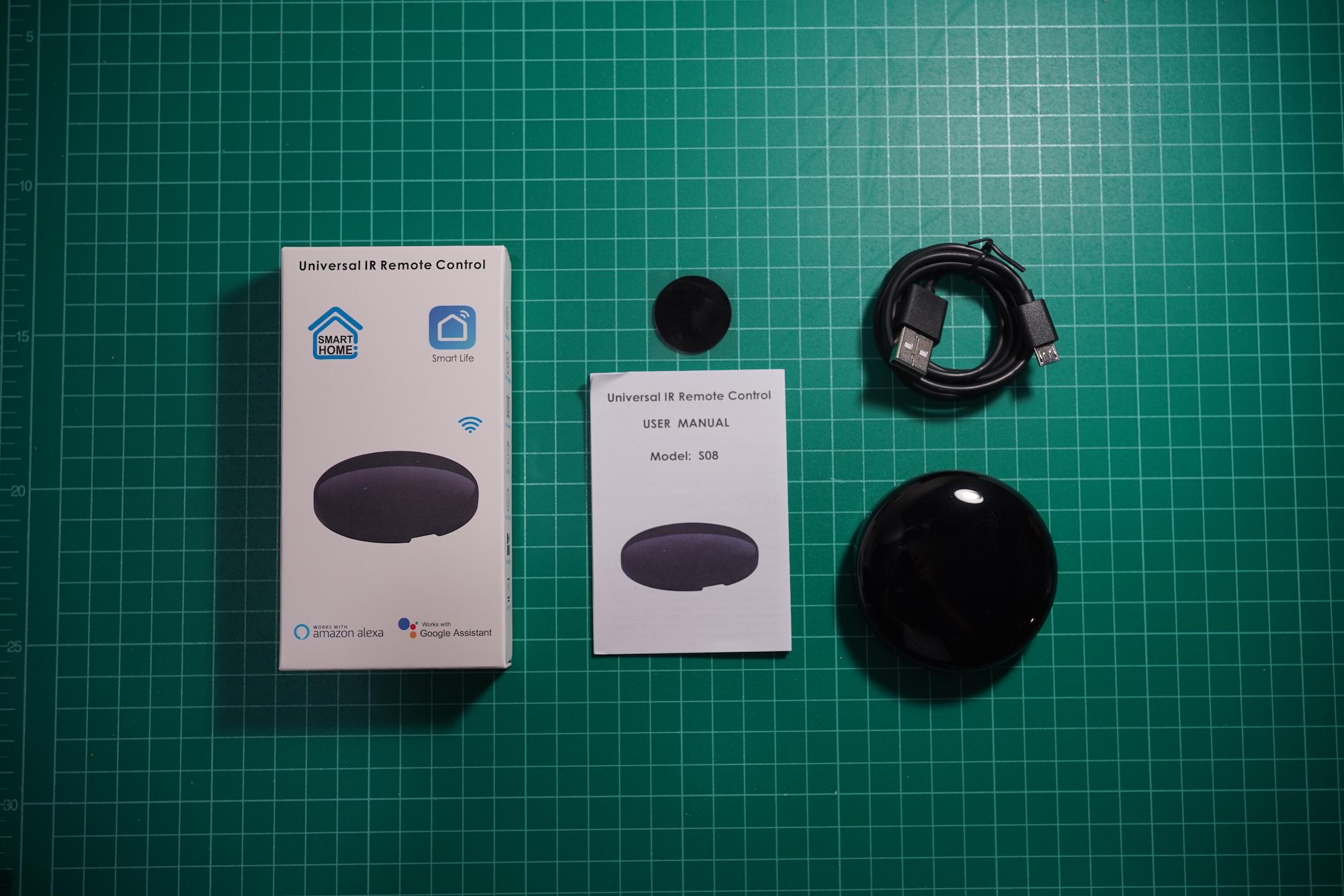 Tuya S08 WiFi IR Remote Inside the box